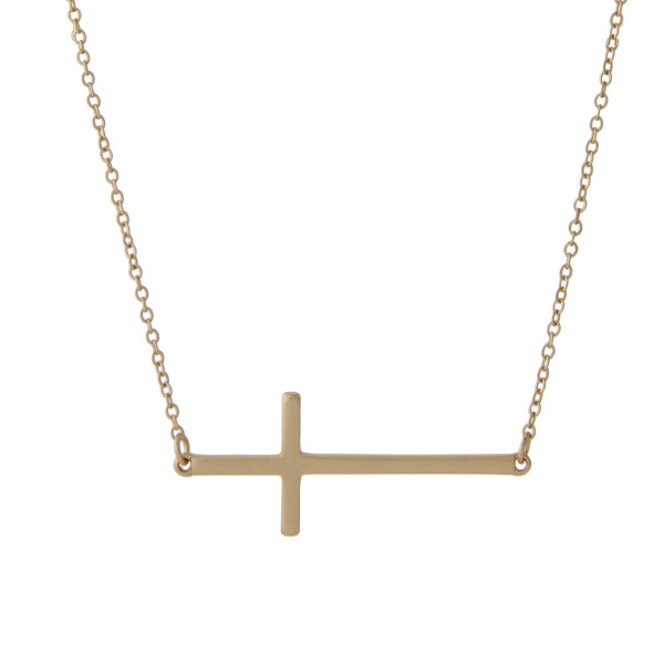 "East West Cross Necklace in a Matte Finish.  - Penant 1.5""  - Approximately 16"" Long - 2"" Adjustable Extender"