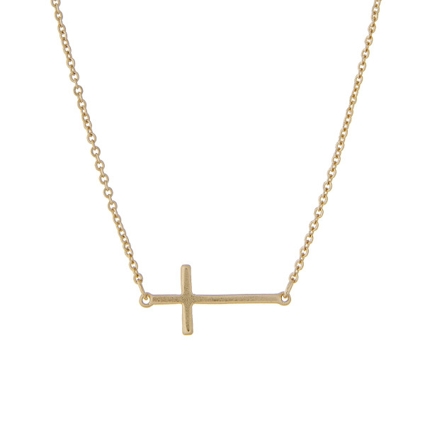 "Matte gold tone chain necklace with a 1"" horizontal cross pendant. Approximate 16"" in length."
