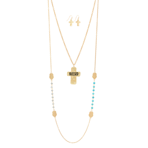 Wholesale worn gold layering necklace turquoise gray beads cross stations hammer