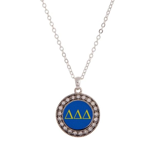 Wholesale silver officially licensed Delta Delta Delta pendant necklace rhinesto
