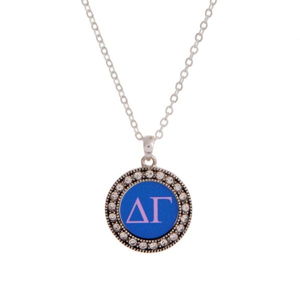 Wholesale silver officially licensed Delta Gamma pendant necklace rhinestone acc
