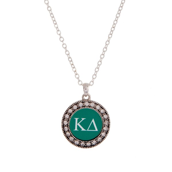 Wholesale silver officially licensed Kappa Delta pendant necklace rhinestone acc