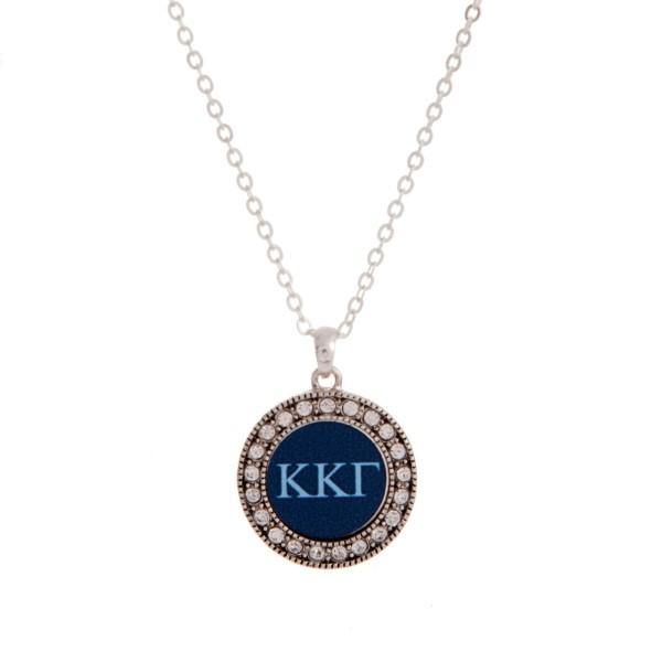 Wholesale silver officially licensed Kappa Kappa Gamma pendant necklace rhinesto
