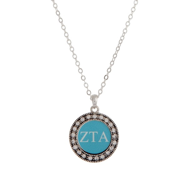 Wholesale silver officially licensed Zeta Tau Alpha pendant necklace rhinestone