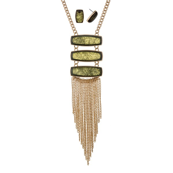 """Gold tone necklace set with three green rectangular shaped cabochons and 4 1/2"""" chain fringe. Approximately 27"""" in length."""