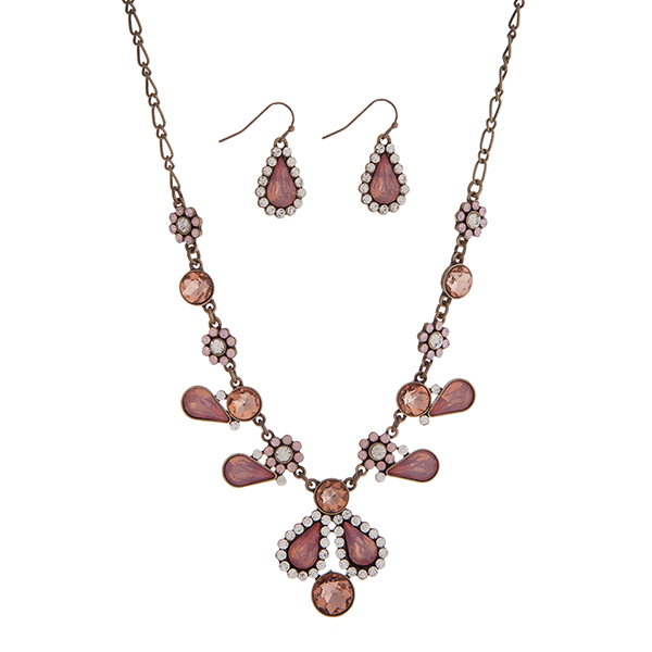 "Burnished gold tone flower design necklace set displaying pink, peach, and clear multiple shape cabochons. Approximately 17"" in length."