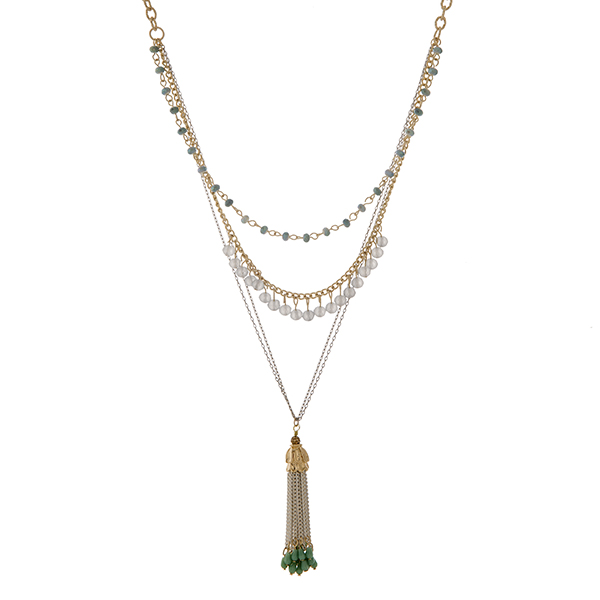 """Two tone layering necklace set with mint and gray beads and a capped 2"""" chain tassel with beads. Approximately 39"""" in length."""