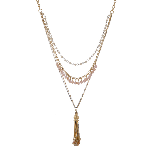 """Two tone layering necklace set with ivory and peach beads and a capped 2"""" chain tassel with beads. Approximately 39"""" in length."""
