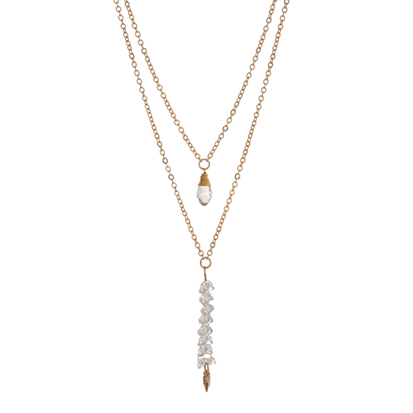"""Gold tone layering necklace displaying a wire wrapped gray teardrop shape stone and wire wrapped clear beads with a dangling spike. Approximately 17"""" in length."""