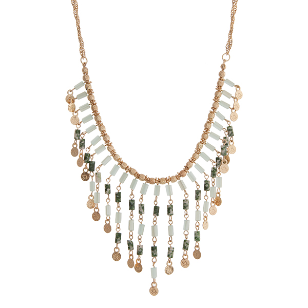 """Gold tone double stranded necklace displaying green beaded fringe. Approximately 16"""" in length."""