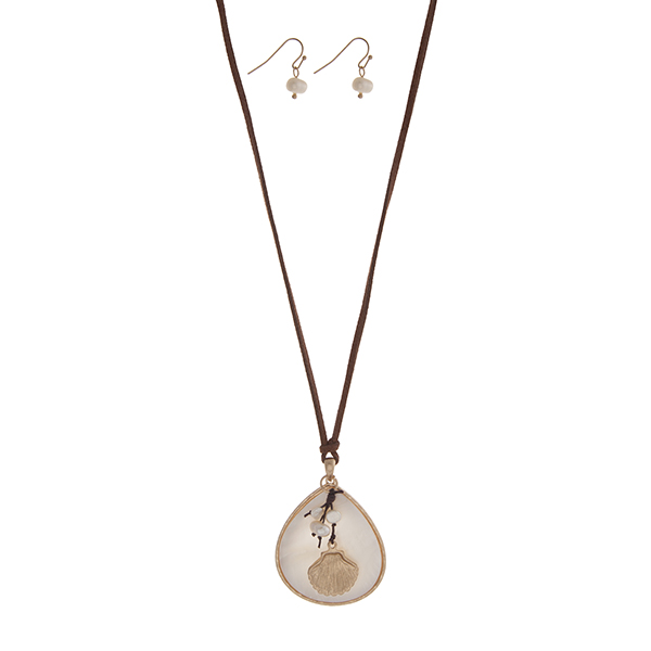 Wholesale adjustable brown cord necklace set displaying white teardrop pendant c