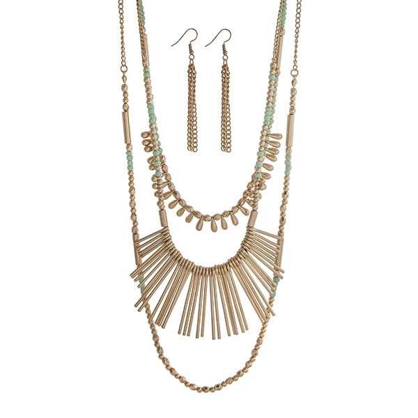 """Gold tone layering necklace set displaying mint and gold beads and metal fringe. Approximately 33"""" in length."""