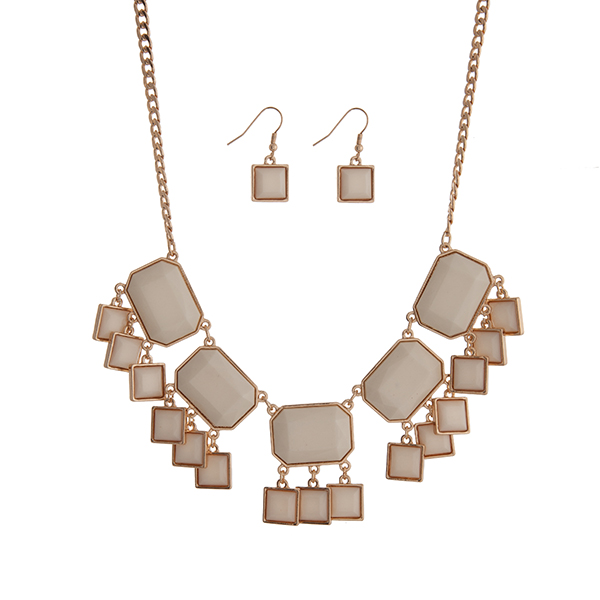 """Gold tone necklace set displaying ivory cabochons with dangling squares. Approximately 17"""" in length."""