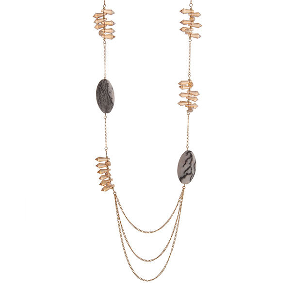 """Gold tone necklace with champagne bead spikes and gray natural stone stations. Approximately 37"""" in length."""