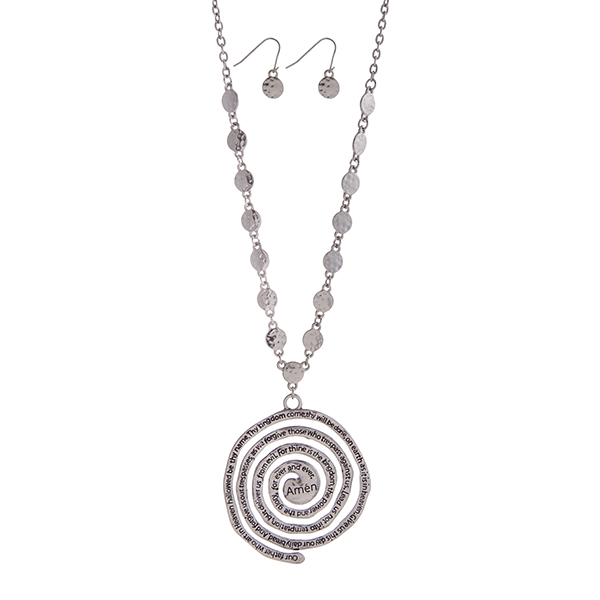 Wholesale silver necklace set displaying hammered disk spiral pendant stamped Lo