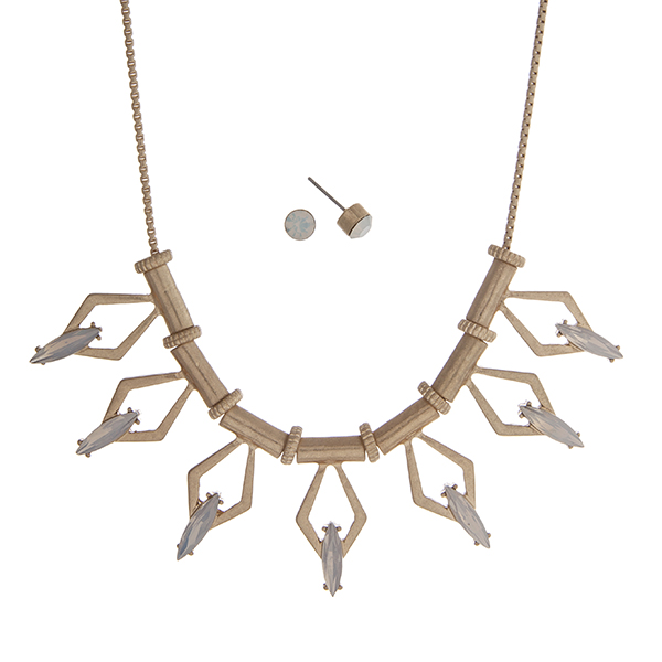"Gold tone necklace set displaying a casting with open diamond shapes and white opal cabochons. Approximately 17"" in length."