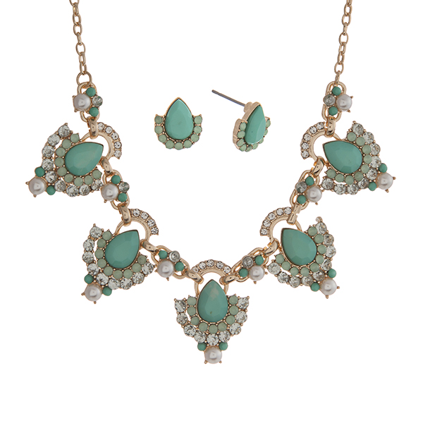 """Gold tone necklace set displaying mint green teardrop shape cabochons surrounded by rhinestones and faux pearl accents. Approximately 18"""" in length."""