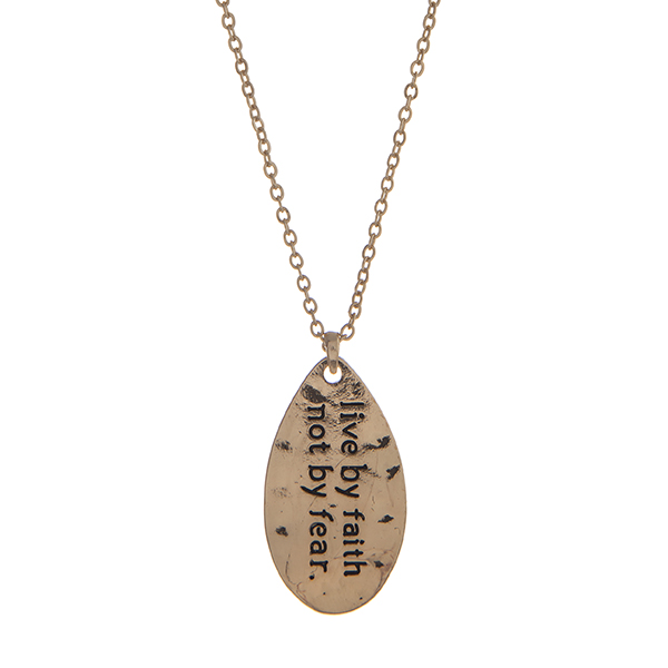 Wholesale gold necklace displaying hammered teardrop stamped live faith not fear