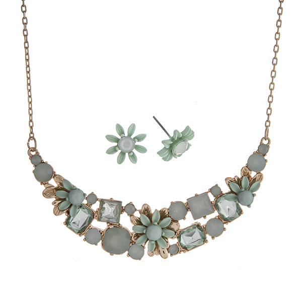 """Gold tone necklace set displaying mint and mint opal cabochons with floral accents. Approximately 14"""" in length."""