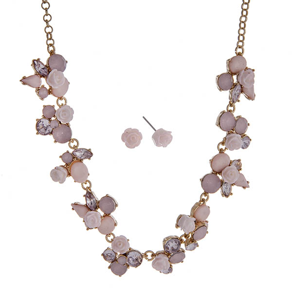 """Gold tone necklace set displaying pink roses surrounded by multiple shaped pink cabochons. Approximately 17"""" in length."""