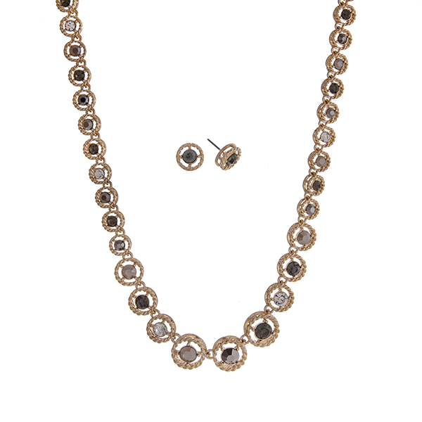 """Gold tone necklace set displaying displaying clear, gray, and black diamond round rhinestones. Approximately 16"""" in length."""