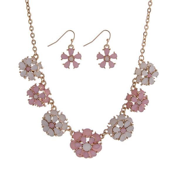 """Gold tone necklace set displaying pink and white layered flowers. Approximately 15"""" in length."""