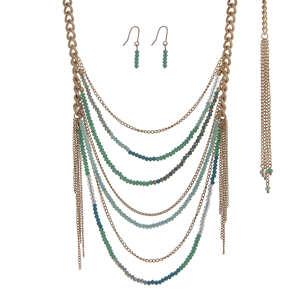 "Gold tone necklace set with turquoise and mint green beaded chains. Approximately 30"" in length."