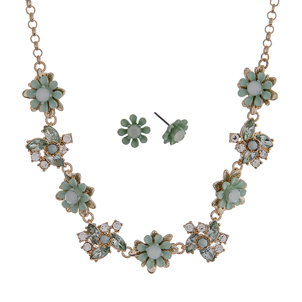 """Gold tone necklace set with mint green flowers accented by clear rhinestones. Approximately 16"""" in length."""
