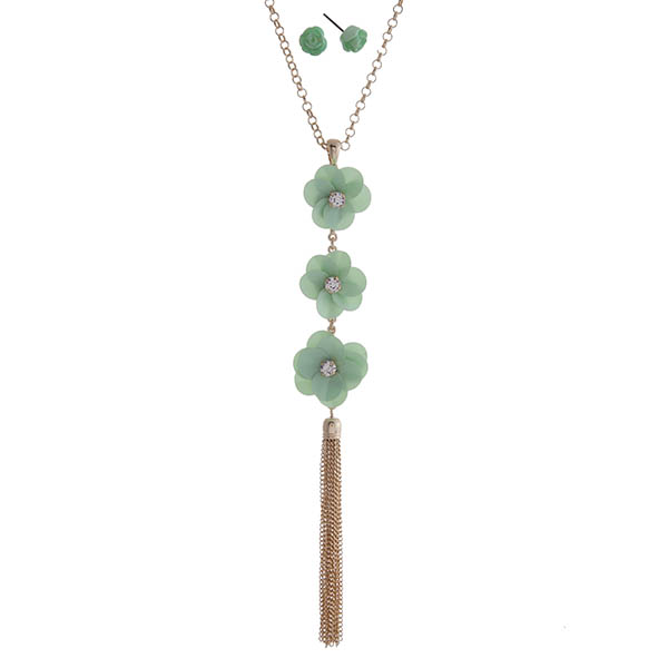 """Gold tone necklace set featuring mint green sequin flowers with clear rhinestone centers and a chain tassel pendant. Approximately 32"""" in length."""