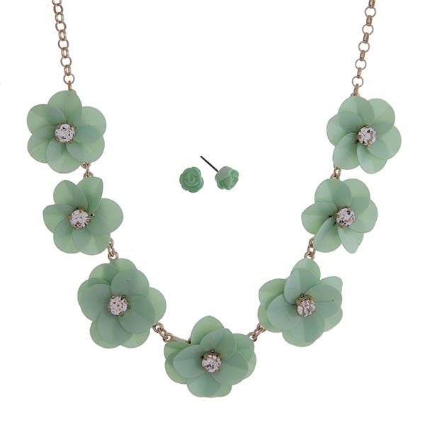 """Gold tone necklace set with mint green sequin flowers with clear rhinestone centers. Approximately 18"""" in length."""