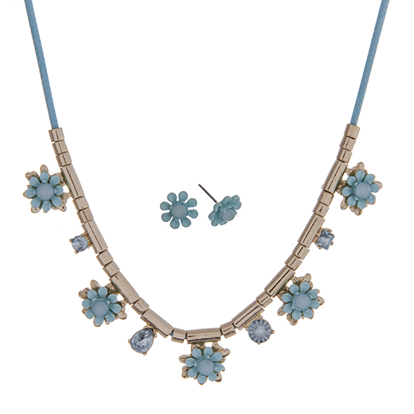 """Aqua cord necklace set with aqua flowers and gold tone beads. Approximately 24"""" in length."""