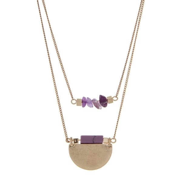 """Burnished gold tone double row necklace with purple chip stones and a purple natural stone pendant. Approximately 18"""" in length."""