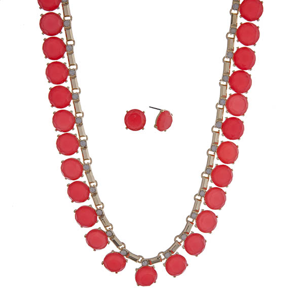 """Gold tone necklace set with round pink cabochons and white opal rhinestones. Approximately 16"""" in length."""