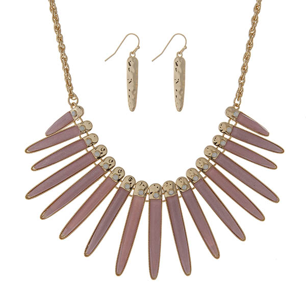 """Gold tone necklace set displaying shimmering pale pink epoxy fringe with white opal stones. Approximately 18"""" in length."""