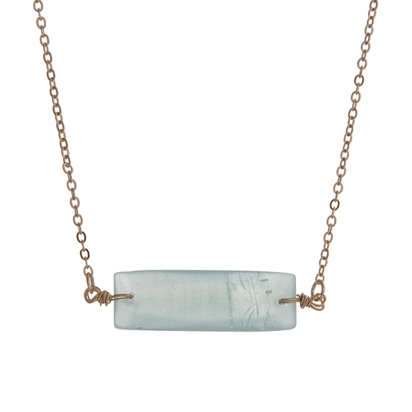 Wholesale dainty gold necklace mint green natural stone bar pendant