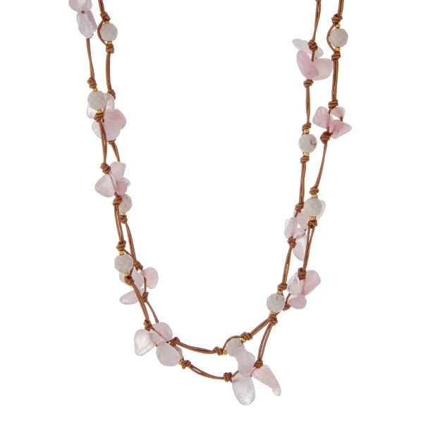 """Tan cord wrap necklace with rose pink natural chip stones and ivory faceted beads. Approximately 60"""" in length. Handmade in the USA."""