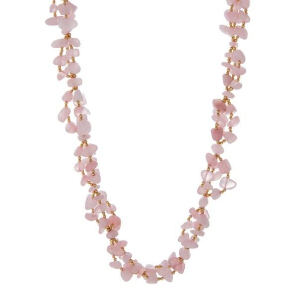 """Gold tone necklace featuring rose quartz natural chip stones. Approximately 30"""" in length. Handmade in the USA."""