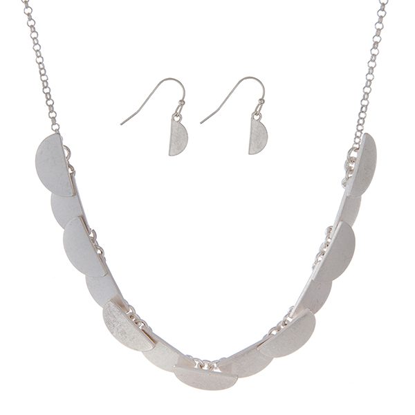 Wholesale burnished silver necklace set half circles matching earrings
