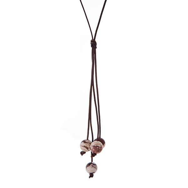 """Brown cord necklace with a brown natural stone beaded tassel. Approximately 32"""" in length."""