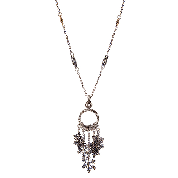 Wholesale silver necklace snowflake charms