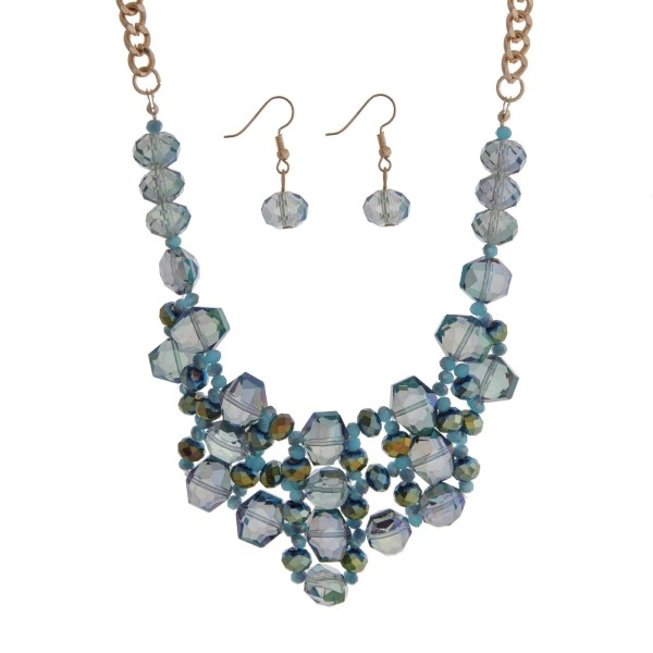 """Gold tone bib necklace set with turquoise and green beads. Approximately 18"""" in length."""