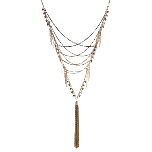 """Gold tone necklace with navy and bronze beads and a chain tassel. Approximately 32"""" in length."""