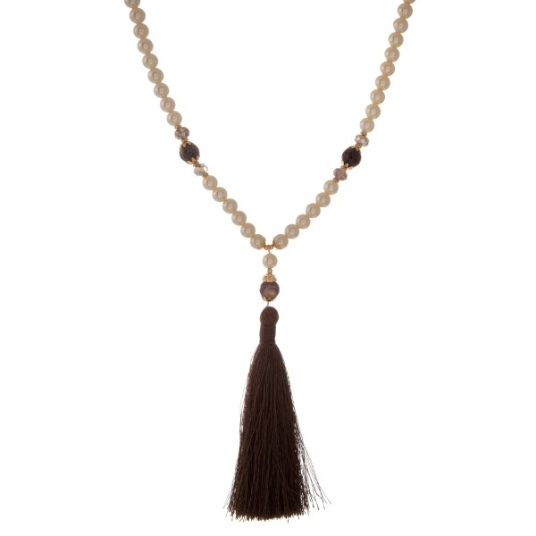 Wholesale ivory pearl beaded necklace neutral natural stone beads brown tassel