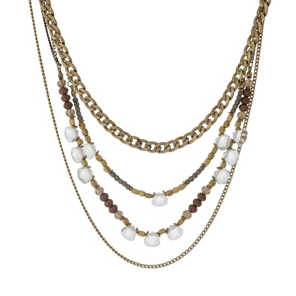 """Gold tone multi layer necklace with gray and bronze beads. Approximately 24"""" in length."""