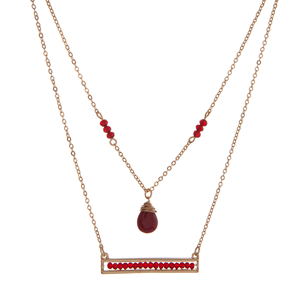 """Dainty double layer necklace with burgundy beads. Approximately 16"""" in length."""