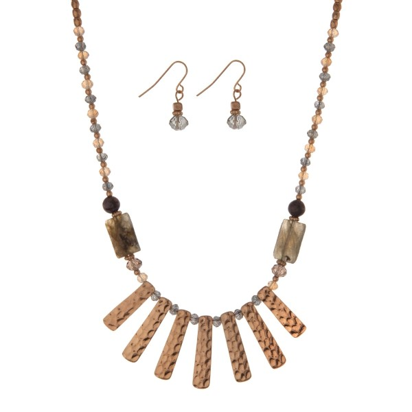 """Gold tone necklace set with gray and olive beads and metal fringe. Approximately 18"""" in length."""