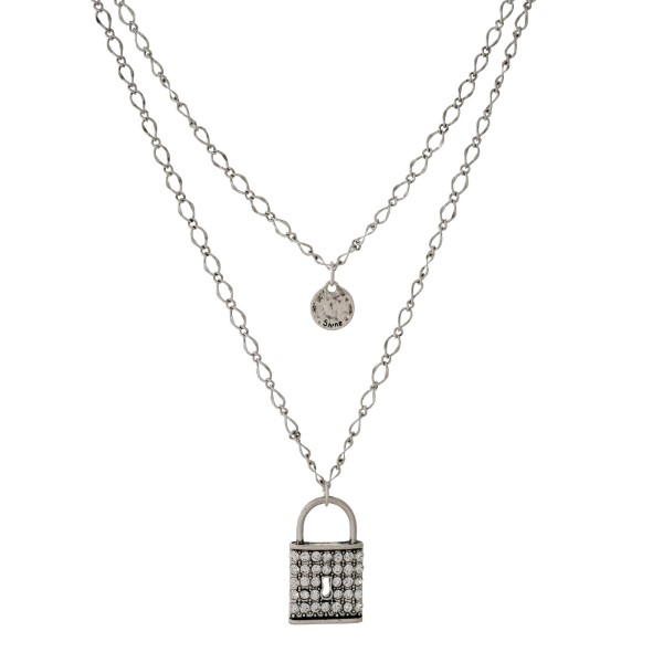 """Silver tone double layer necklace with a pave lock pendant. Approximately 24"""" in length."""