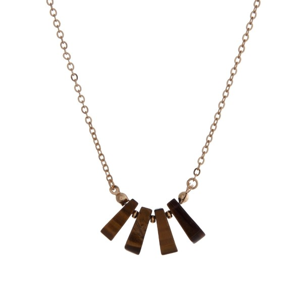 """Dainty gold tone necklace with tiger's eye natural stones. Approximately 16"""" in length."""