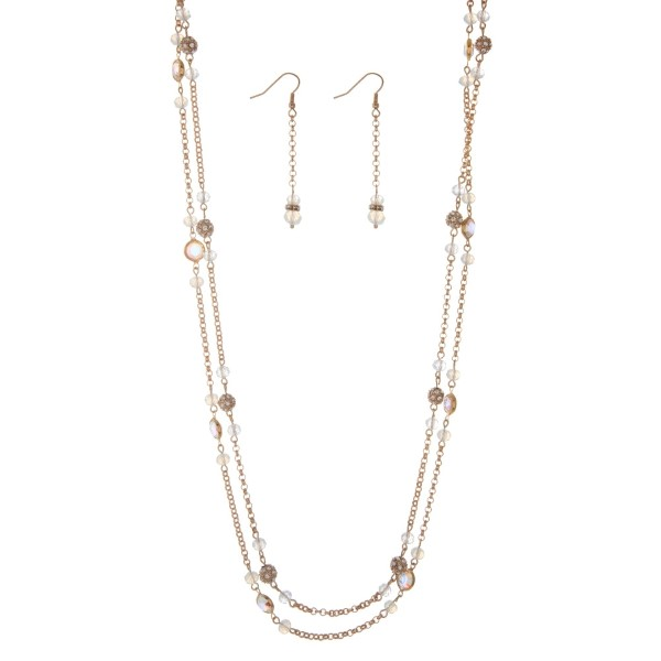 """Gold tone double layer necklace set with clear and white opal beads. Approximately 30"""" in length."""