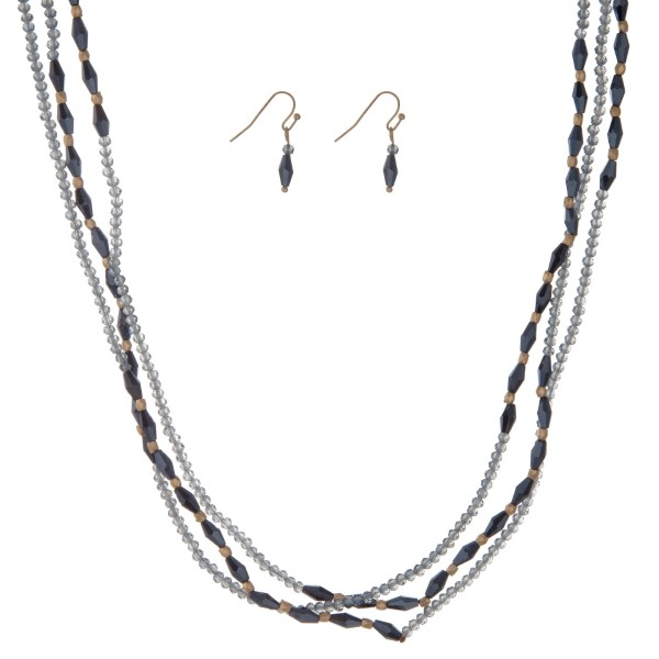 "Navy and blue beaded wrap necklace set. Approximately 60"" in length."